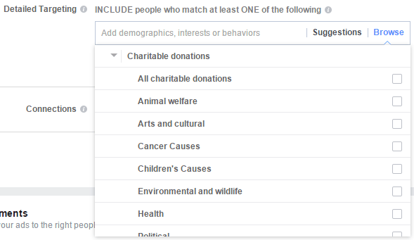 Facebook targeting for charitable donors