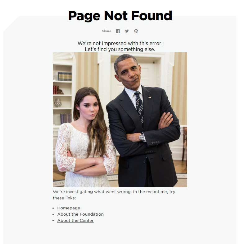 Obama Foundation 404 page has fun and function