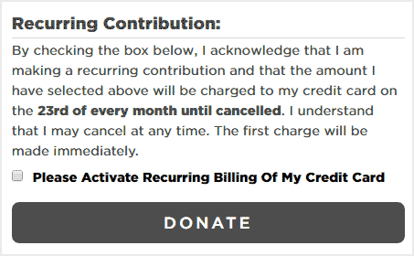 Obama Foundation online recurring donation information