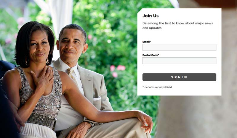 Obama Foundation email signup